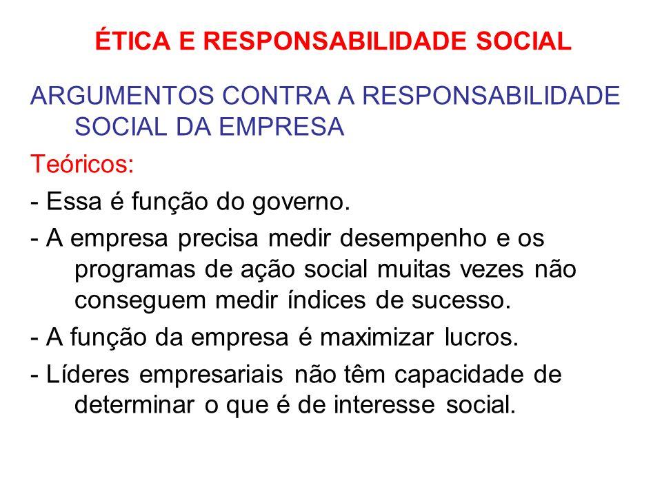 ÉTICA E RESPONSABILIDADE SOCIAL ARGUMENTOS CONTRA A RESPONSABILIDADE SOCIAL DA EMPRESA Teóricos: - Essa é função do governo. - A empresa precisa medir