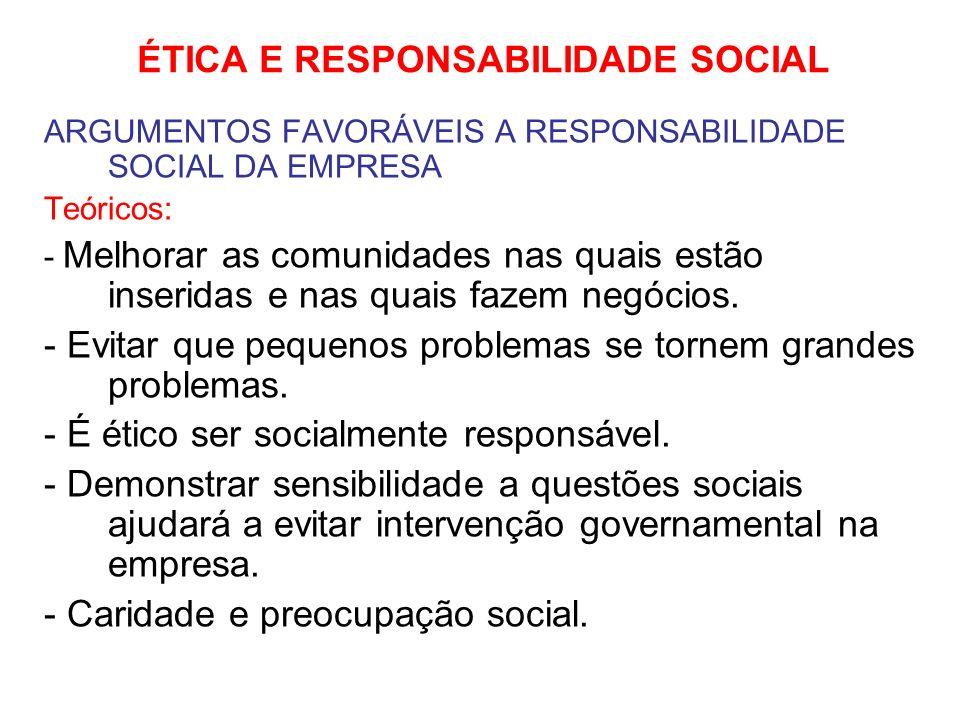 ÉTICA E RESPONSABILIDADE SOCIAL ARGUMENTOS FAVORÁVEIS A RESPONSABILIDADE SOCIAL DA EMPRESA Práticos: - Ações que demonstram sensibilidade social podem ser lucrativas para a empresa.