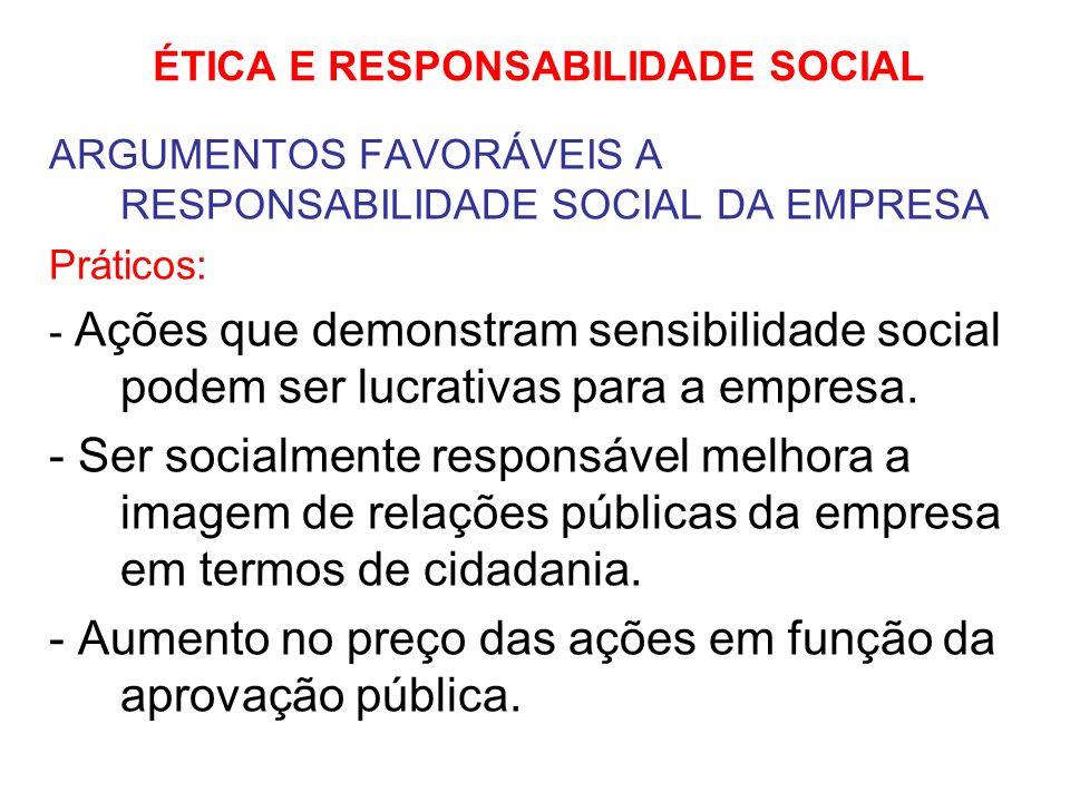 ÉTICA E RESPONSABILIDADE SOCIAL ARGUMENTOS FAVORÁVEIS A RESPONSABILIDADE SOCIAL DA EMPRESA Práticos: - Ações que demonstram sensibilidade social podem