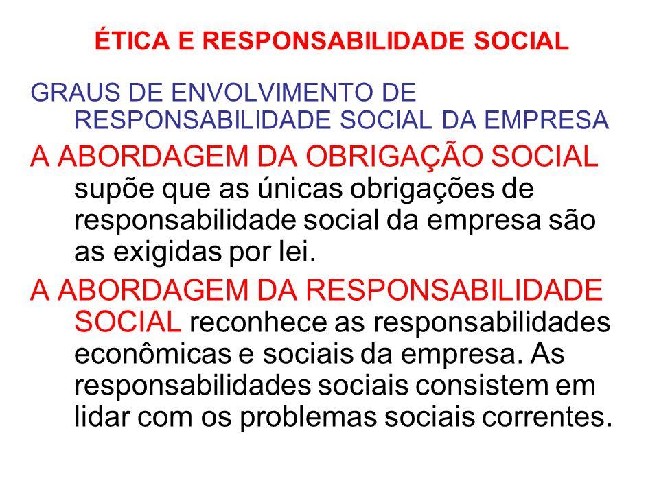 ÉTICA E RESPONSABILIDADE SOCIAL GRAUS DE ENVOLVIMENTO DE RESPONSABILIDADE SOCIAL DA EMPRESA A ABORDAGEM DA SENSIBILIDADE SOCIAL enfatiza que além das responsabilidades econômicas e sociais a empresa deve antecipar futuros problemas sociais, destinando recursos ao tratamento destes (adaptação preventiva).