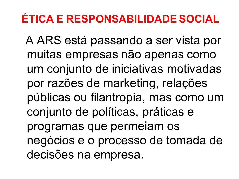 ÉTICA E RESPONSABILIDADE SOCIAL A ARS está passando a ser vista por muitas empresas não apenas como um conjunto de iniciativas motivadas por razões de