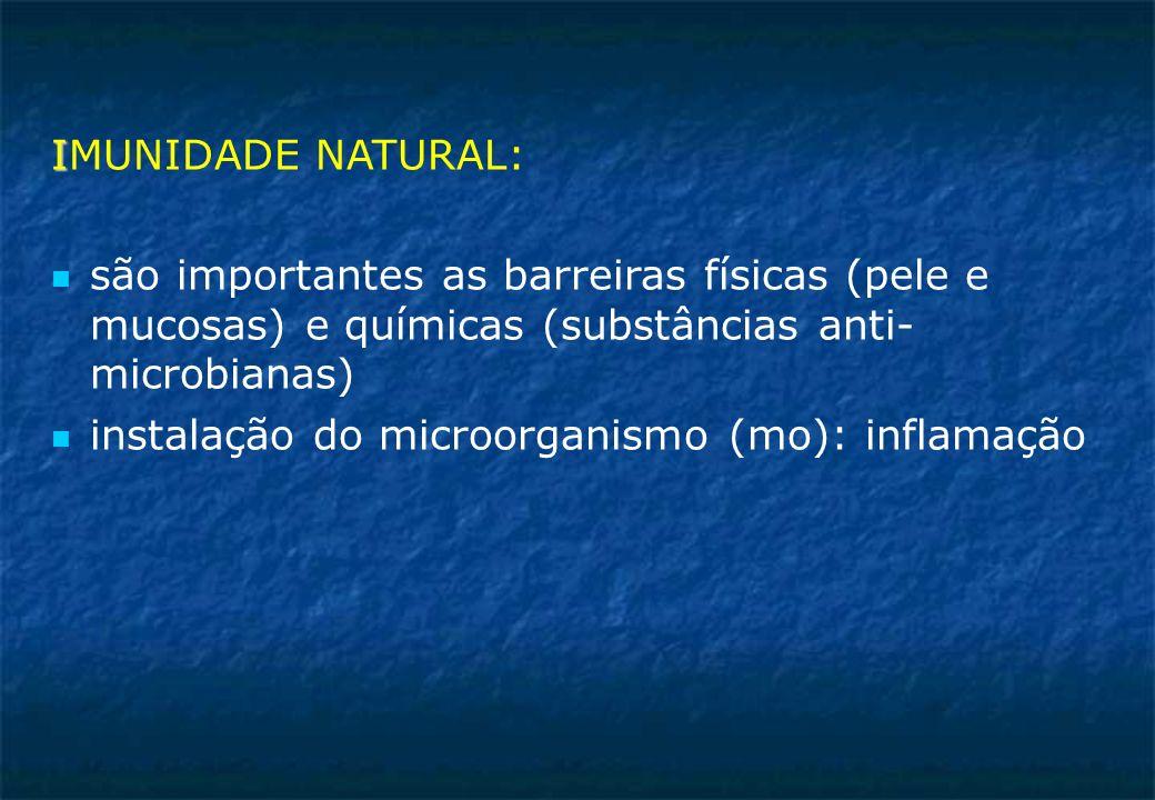 I IMUNIDADE NATURAL: são importantes as barreiras físicas (pele e mucosas) e químicas (substâncias anti- microbianas) instalação do microorganismo (mo): inflamação