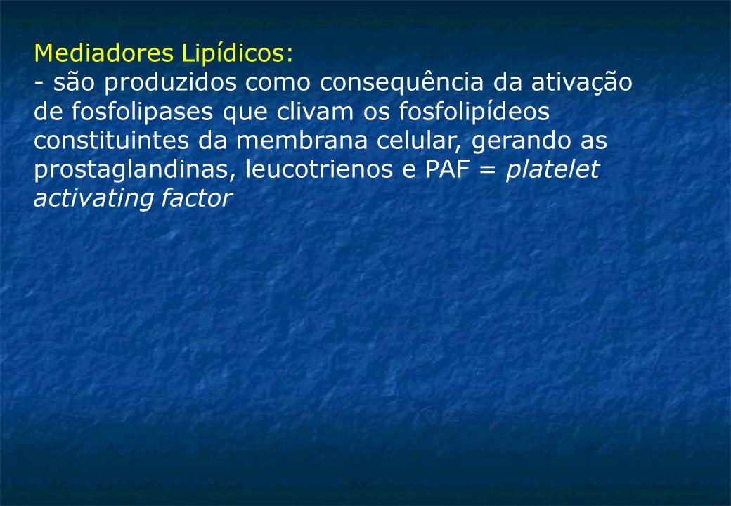 Mediadores Lipídicos: - são produzidos como consequência da ativação de fosfolipases que clivam os fosfolipídeos constituintes da membrana celular, gerando as prostaglandinas, leucotrienos e PAF = platelet activating factor
