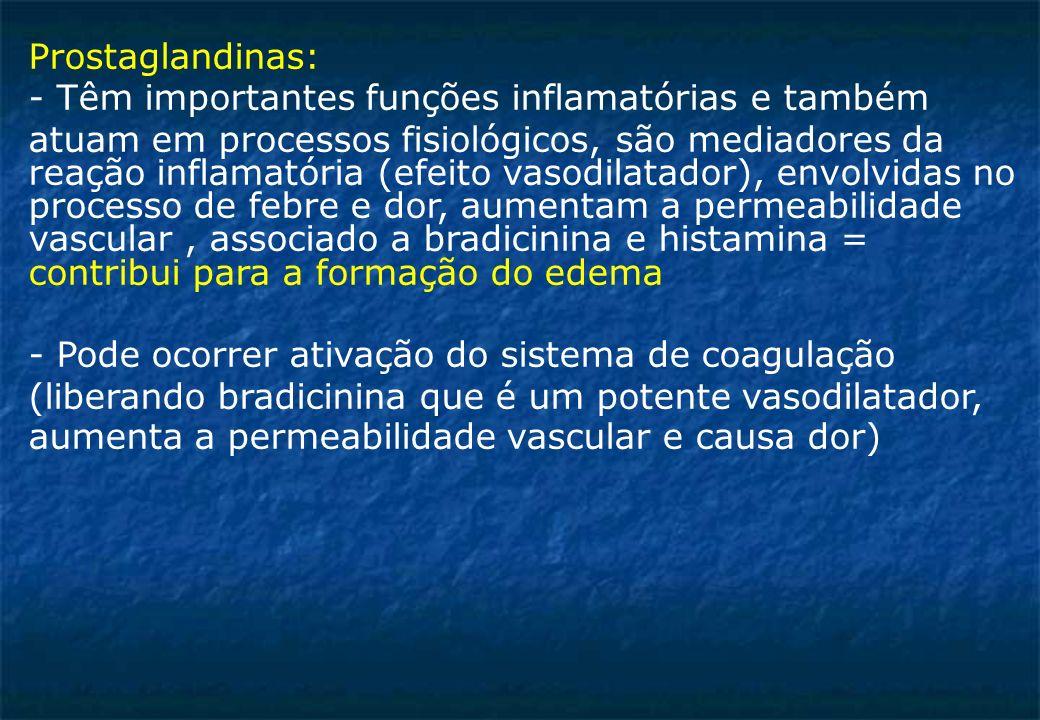 Prostaglandinas: - Têm importantes funções inflamatórias e também atuam em processos fisiológicos, são mediadores da reação inflamatória (efeito vasodilatador), envolvidas no processo de febre e dor, aumentam a permeabilidade vascular, associado a bradicinina e histamina = contribui para a formação do edema - Pode ocorrer ativação do sistema de coagulação (liberando bradicinina que é um potente vasodilatador, aumenta a permeabilidade vascular e causa dor)