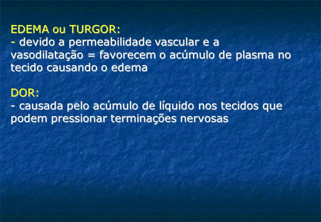 EDEMA ou TURGOR: - devido a permeabilidade vascular e a vasodilatação = favorecem o acúmulo de plasma no tecido causando o edema DOR: - causada pelo acúmulo de líquido nos tecidos que podem pressionar terminações nervosas