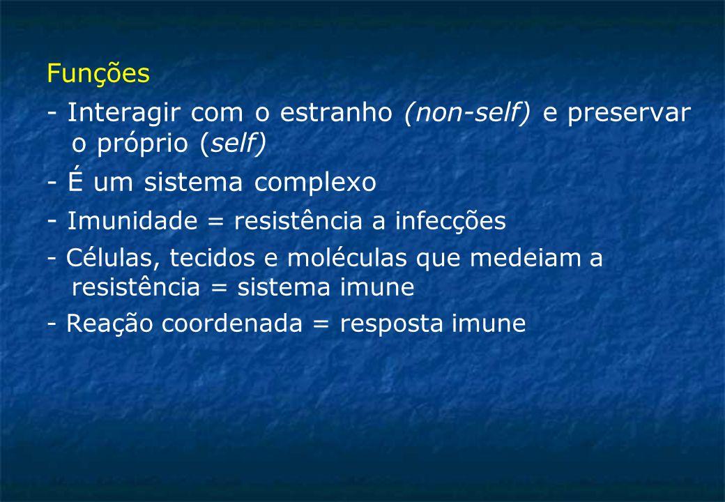 Funções - Interagir com o estranho (non-self) e preservar o próprio (self) - É um sistema complexo - Imunidade = resistência a infecções - Células, tecidos e moléculas que medeiam a resistência = sistema imune - Reação coordenada = resposta imune