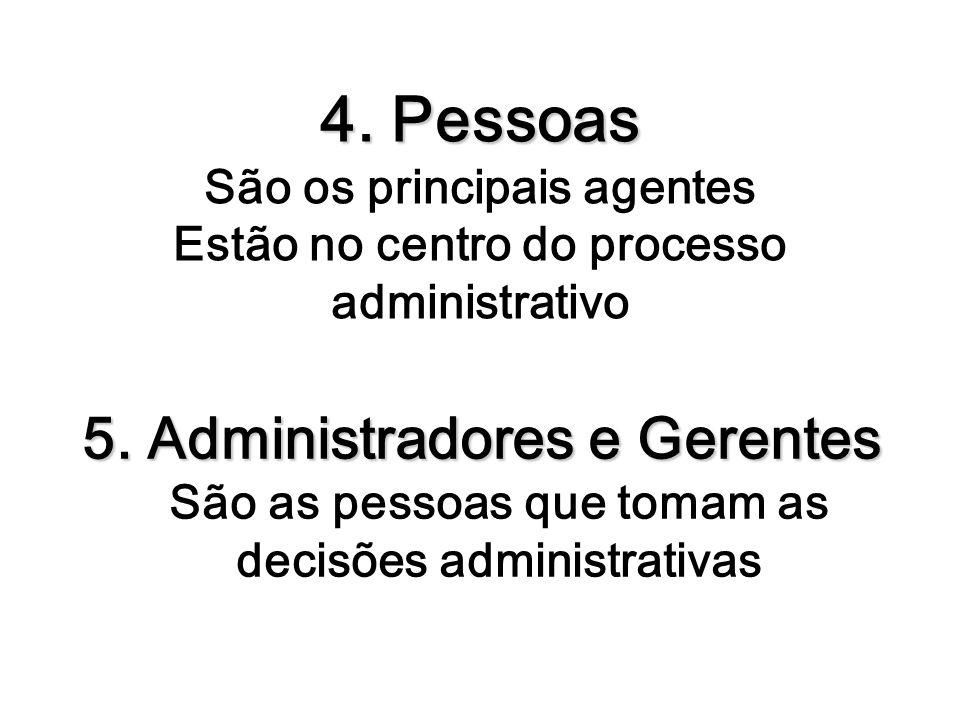 4. Pessoas 4. Pessoas São os principais agentes Estão no centro do processo administrativo 5. Administradores e Gerentes 5. Administradores e Gerentes