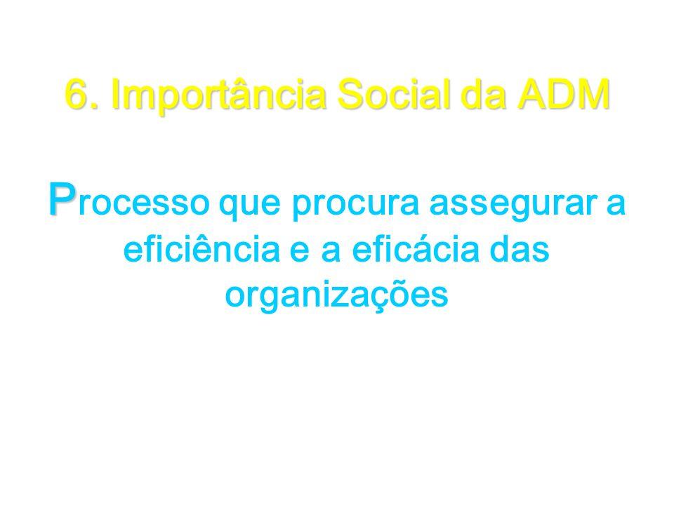 6. Importância Social da ADM P 6. Importância Social da ADM P rocesso que procura assegurar a eficiência e a eficácia das organizações