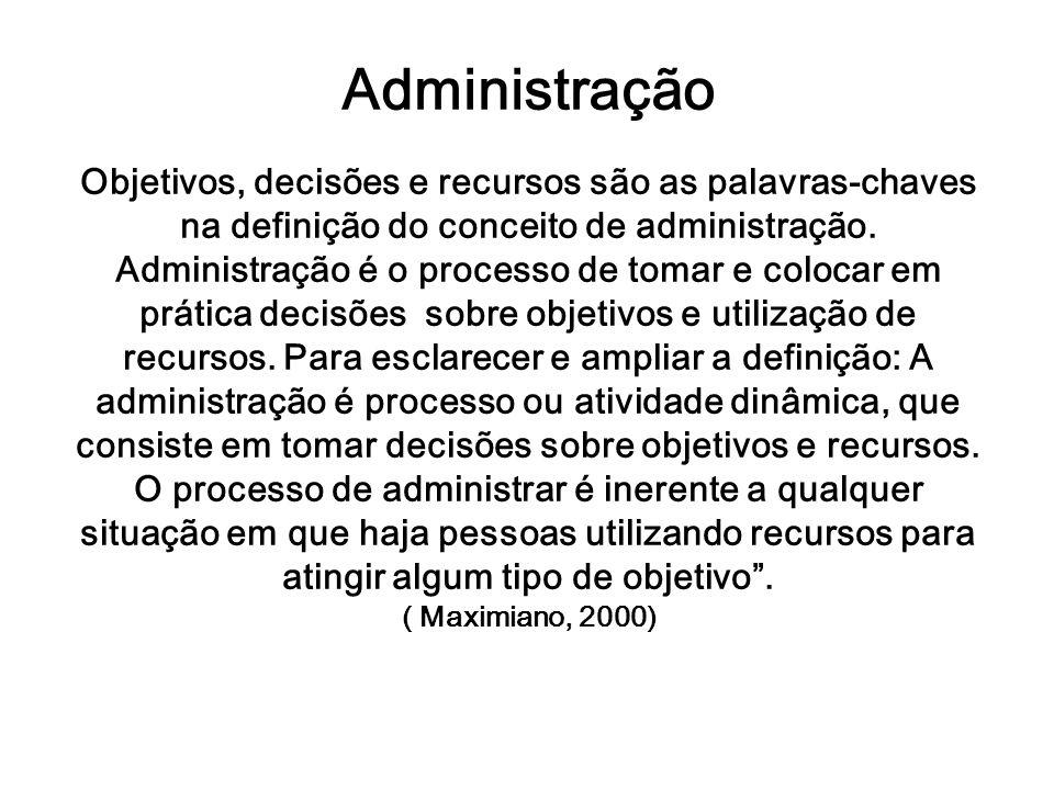Administração Objetivos, decisões e recursos são as palavras-chaves na definição do conceito de administração. Administração é o processo de tomar e c