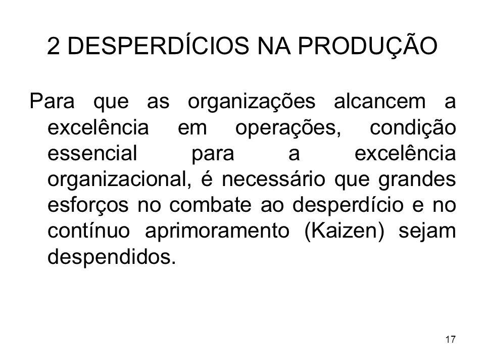 17 2 DESPERDÍCIOS NA PRODUÇÃO Para que as organizações alcancem a excelência em operações, condição essencial para a excelência organizacional, é nece