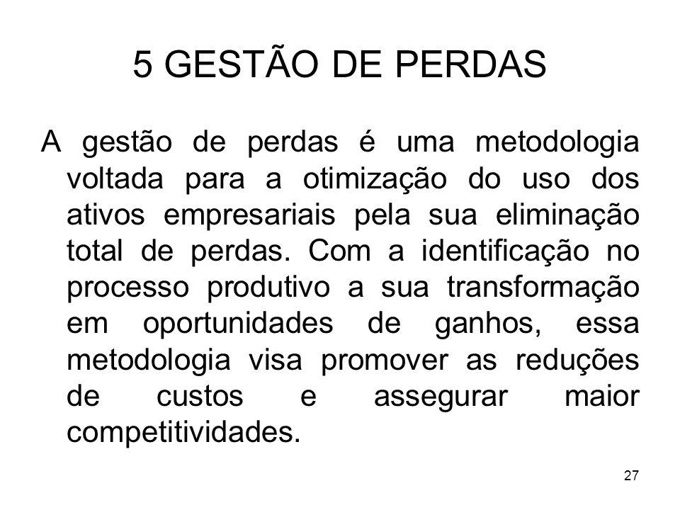 27 5 GESTÃO DE PERDAS A gestão de perdas é uma metodologia voltada para a otimização do uso dos ativos empresariais pela sua eliminação total de perda