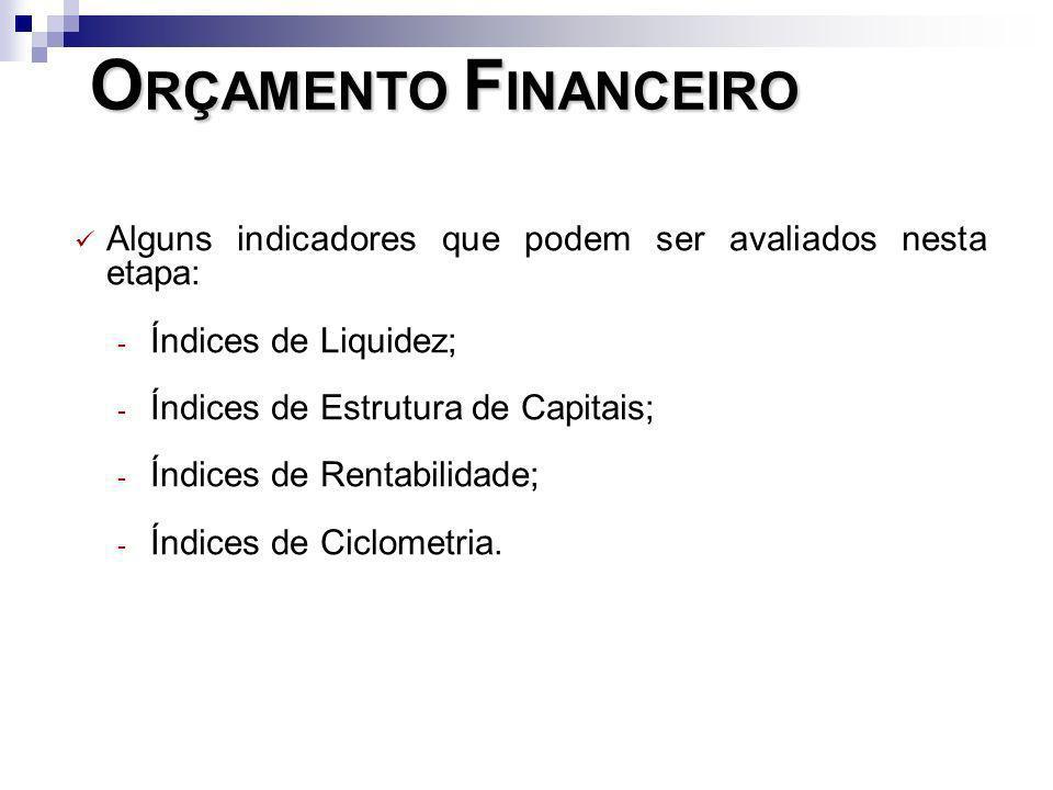 O RÇAMENTO F INANCEIRO Alguns indicadores que podem ser avaliados nesta etapa: - Índices de Liquidez; - Índices de Estrutura de Capitais; - Índices de