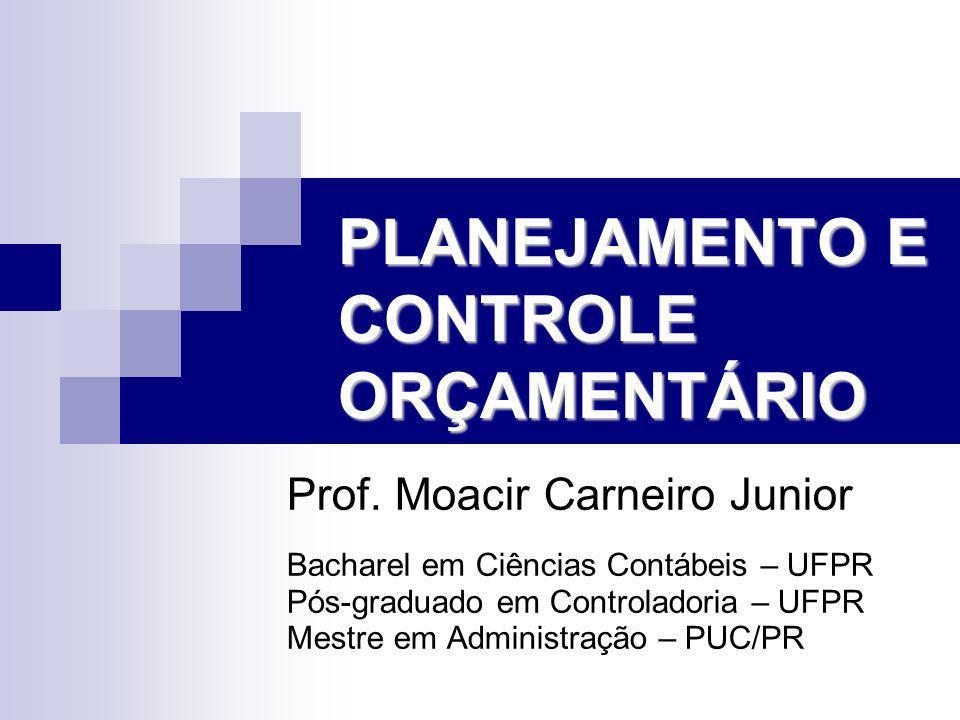 PLANEJAMENTO E CONTROLE ORÇAMENTÁRIO Prof. Moacir Carneiro Junior Bacharel em Ciências Contábeis – UFPR Pós-graduado em Controladoria – UFPR Mestre em