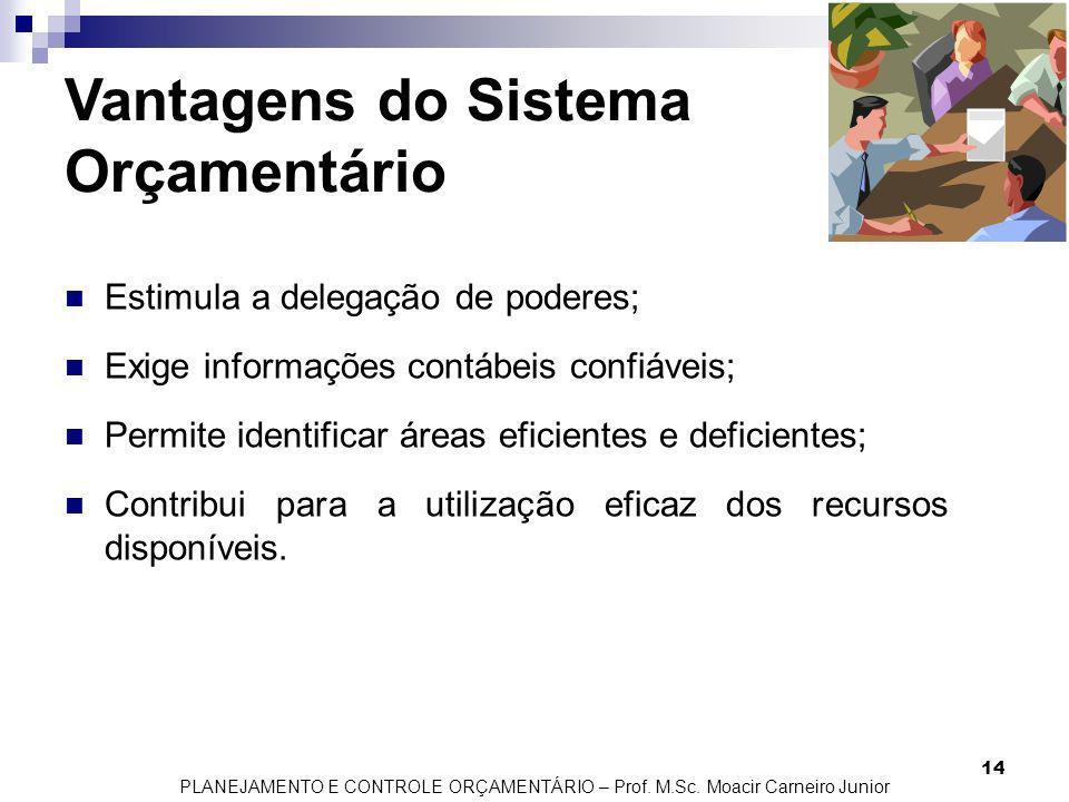 PLANEJAMENTO E CONTROLE ORÇAMENTÁRIO – Prof. M.Sc. Moacir Carneiro Junior 14 Vantagens do Sistema Orçamentário Estimula a delegação de poderes; Exige