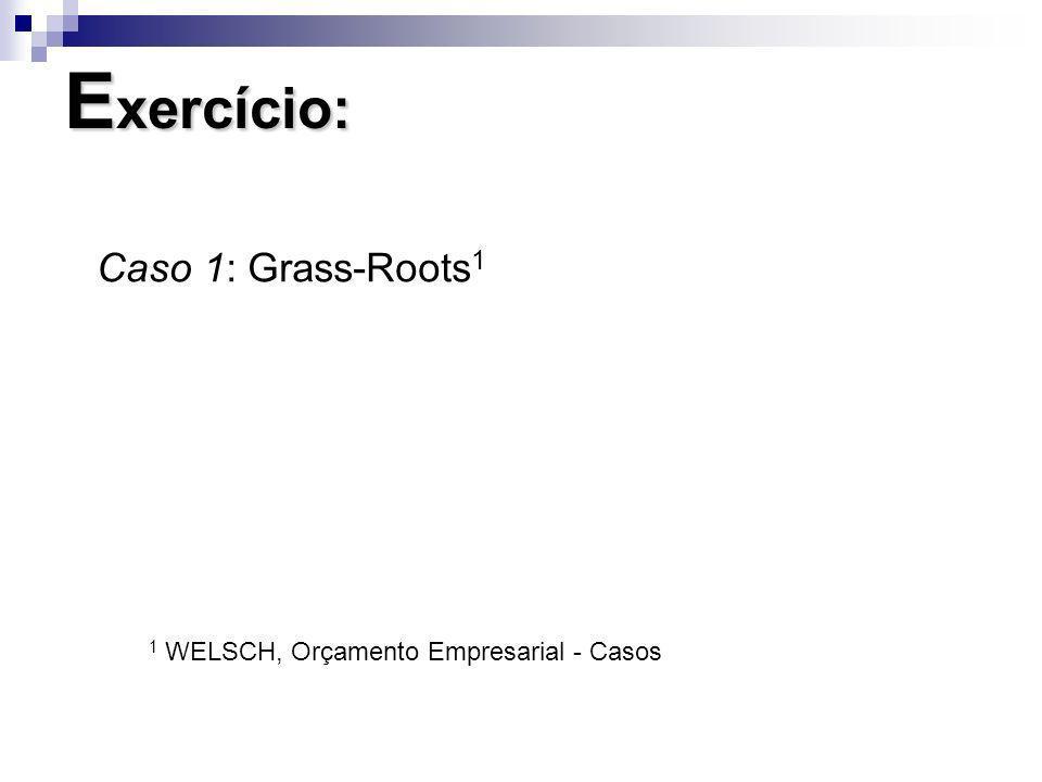 E xercício: Caso 1: Grass-Roots 1 1 WELSCH, Orçamento Empresarial - Casos
