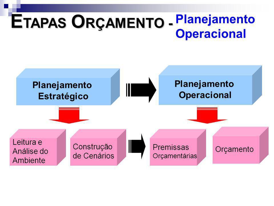 Planejamento Estratégico Planejamento Operacional Leitura e Análise do Ambiente Construção de Cenários Premissas Orçamentárias Orçamento E TAPAS O RÇA