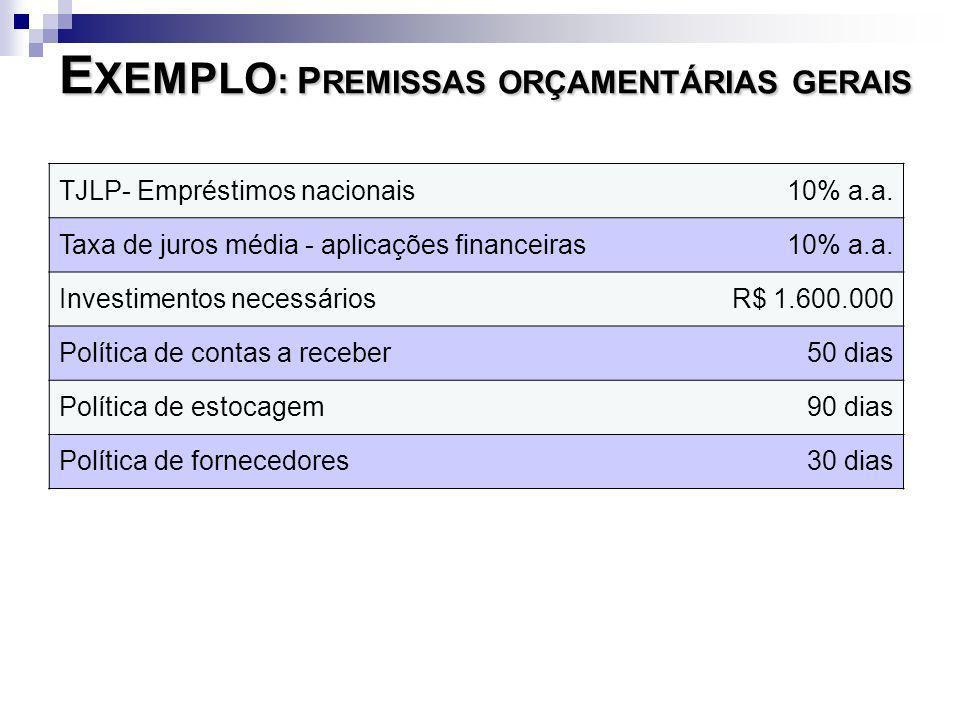 E XEMPLO : P REMISSAS ORÇAMENTÁRIAS GERAIS TJLP- Empréstimos nacionais 10% a.a. Taxa de juros média - aplicações financeiras10% a.a. Investimentos nec
