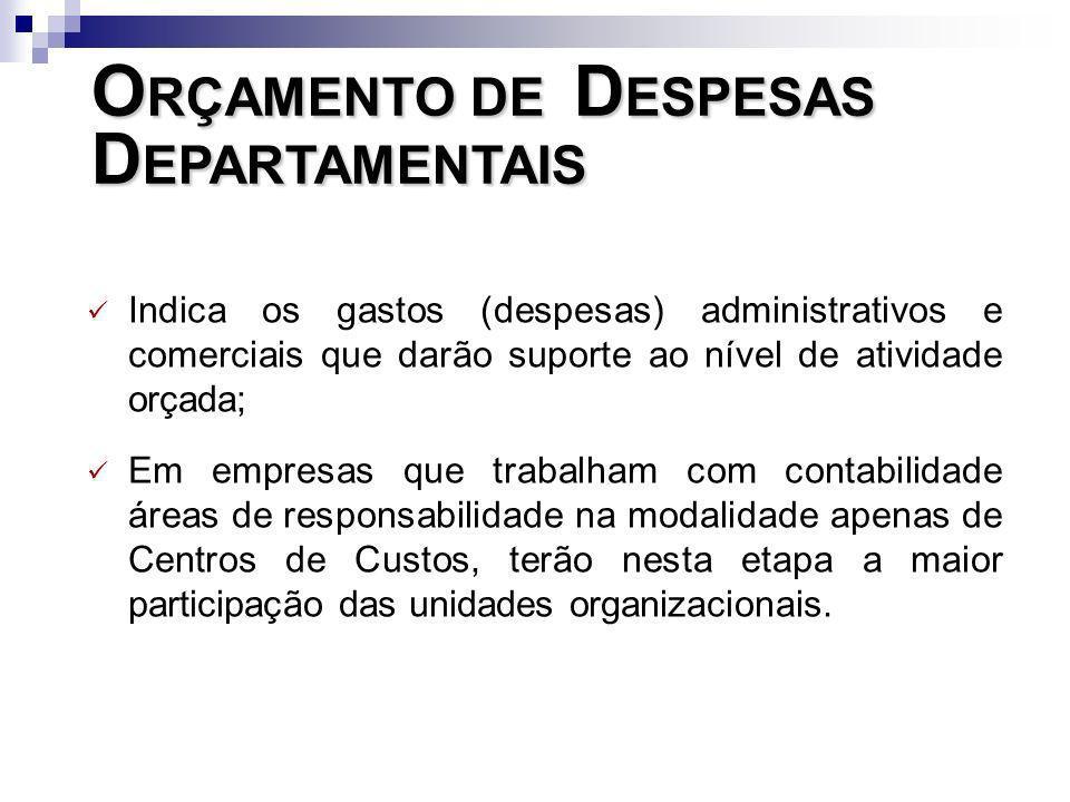 O RÇAMENTO DE D ESPESAS D EPARTAMENTAIS Indica os gastos (despesas) administrativos e comerciais que darão suporte ao nível de atividade orçada; Em em