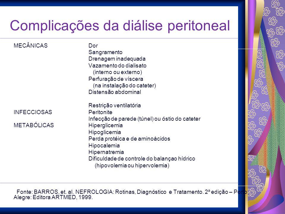Complicações da diálise peritoneal MECÂNICAS Dor Sangramento Drenagem inadequada Vazamento do dialisato (interno ou externo) Perfuração de víscera (na