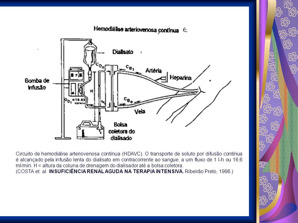 Circuito de hemodiálise arteriovenosa contínua (HDAVC). O transporte de soluto por difusão contínua é alcançado pela infusão lenta do dialisato em con