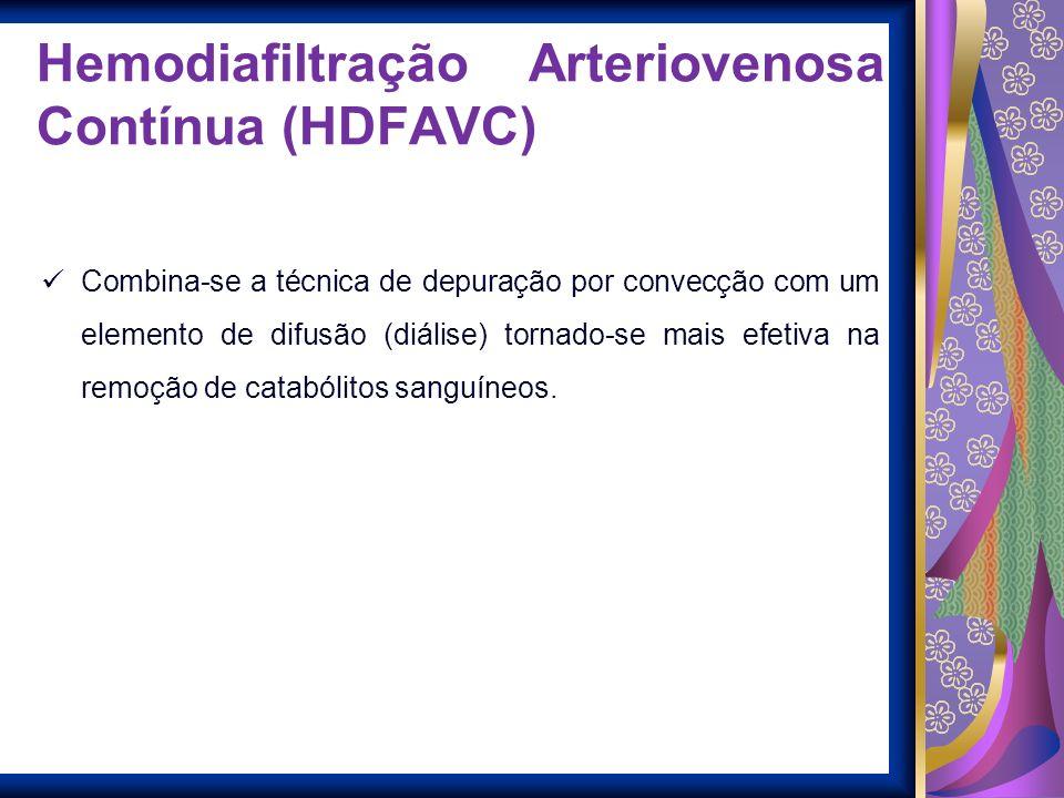 Hemodiafiltração Arteriovenosa Contínua (HDFAVC) Combina-se a técnica de depuração por convecção com um elemento de difusão (diálise) tornado-se mais