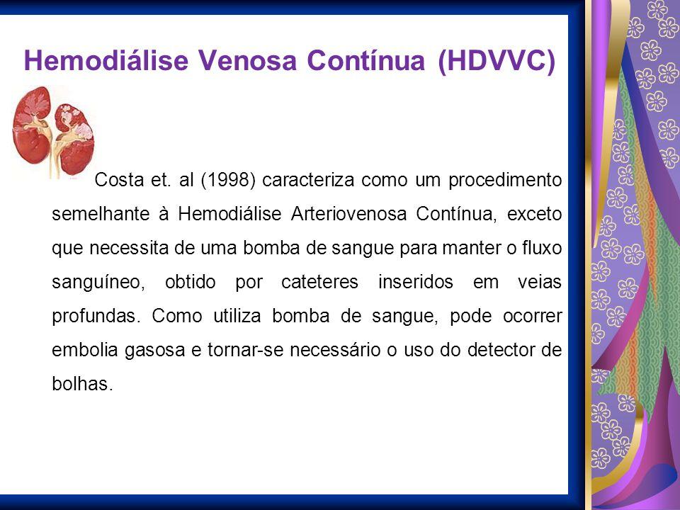 Hemodiálise Venosa Contínua (HDVVC) Costa et. al (1998) caracteriza como um procedimento semelhante à Hemodiálise Arteriovenosa Contínua, exceto que n