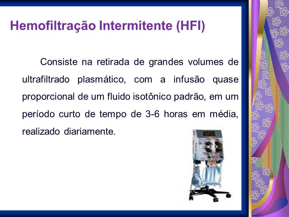 Hemofiltração Intermitente (HFI) Consiste na retirada de grandes volumes de ultrafiltrado plasmático, com a infusão quase proporcional de um fluido is