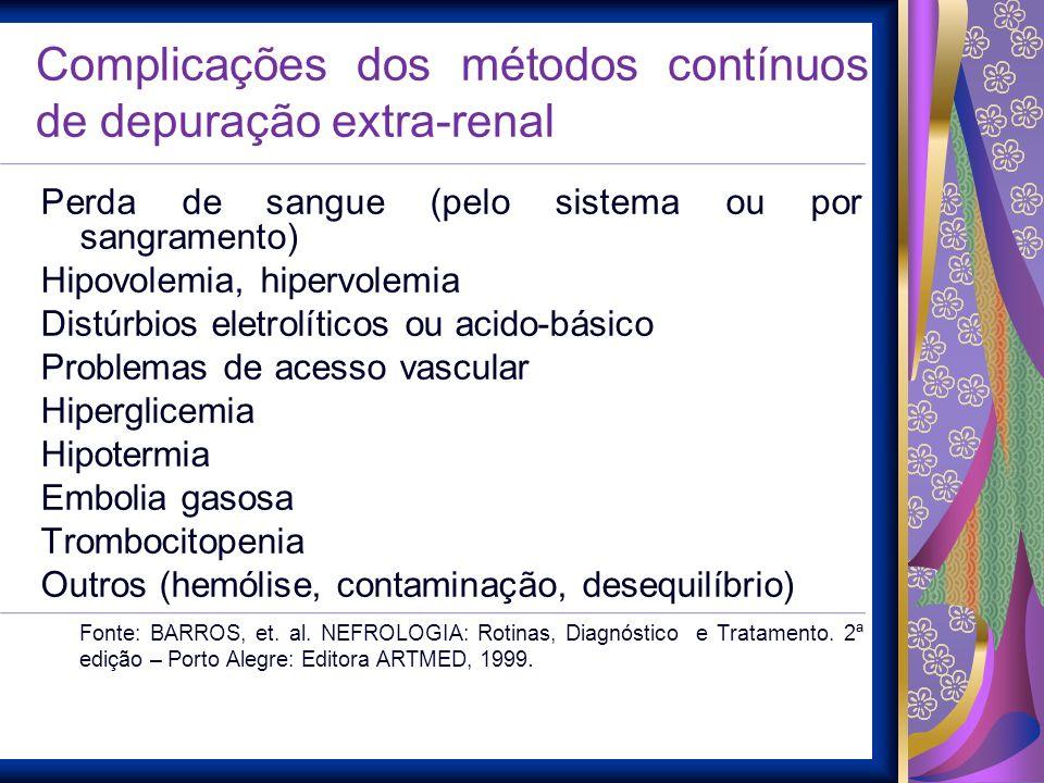 Complicações dos métodos contínuos de depuração extra-renal Perda de sangue (pelo sistema ou por sangramento) Hipovolemia, hipervolemia Distúrbios ele