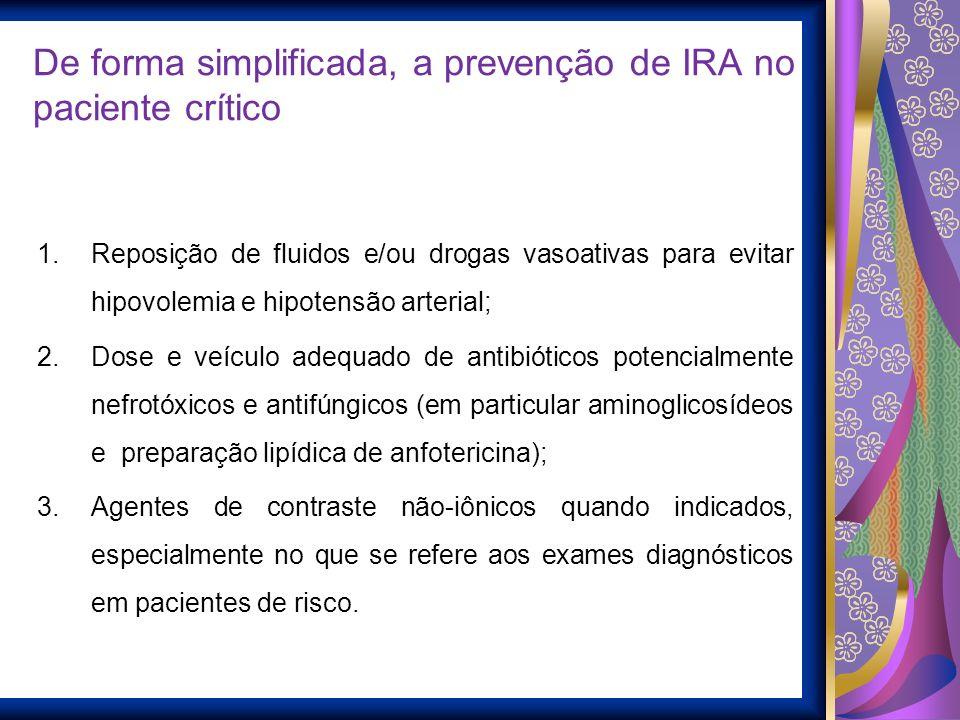 De forma simplificada, a prevenção de IRA no paciente crítico 1.Reposição de fluidos e/ou drogas vasoativas para evitar hipovolemia e hipotensão arter