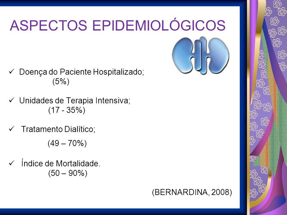 ASPECTOS EPIDEMIOLÓGICOS Doença do Paciente Hospitalizado; (5%) Unidades de Terapia Intensiva; (17 - 35%) Tratamento Dialítico; (49 – 70%) Índice de M