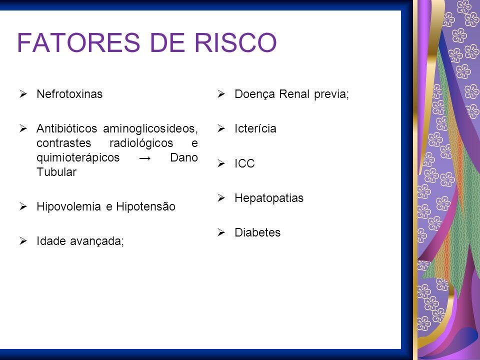 FATORES DE RISCO Nefrotoxinas Antibióticos aminoglicosideos, contrastes radiológicos e quimioterápicos Dano Tubular Hipovolemia e Hipotensão Idade ava