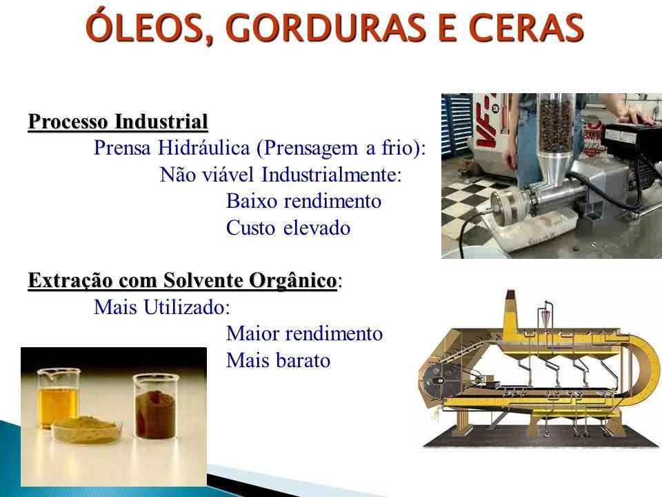 Processo Industrial Prensa Hidráulica (Prensagem a frio): Não viável Industrialmente: Baixo rendimento Custo elevado Extração com Solvente Orgânico: M