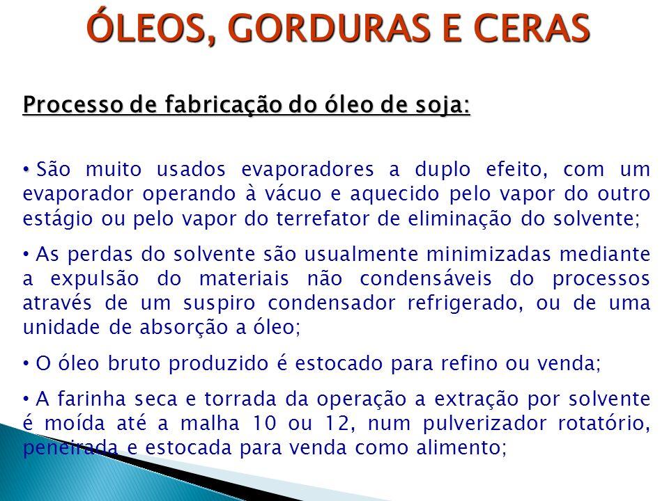 ÓLEOS, GORDURAS E CERAS Processo de fabricação do óleo de soja: São muito usados evaporadores a duplo efeito, com um evaporador operando à vácuo e aqu