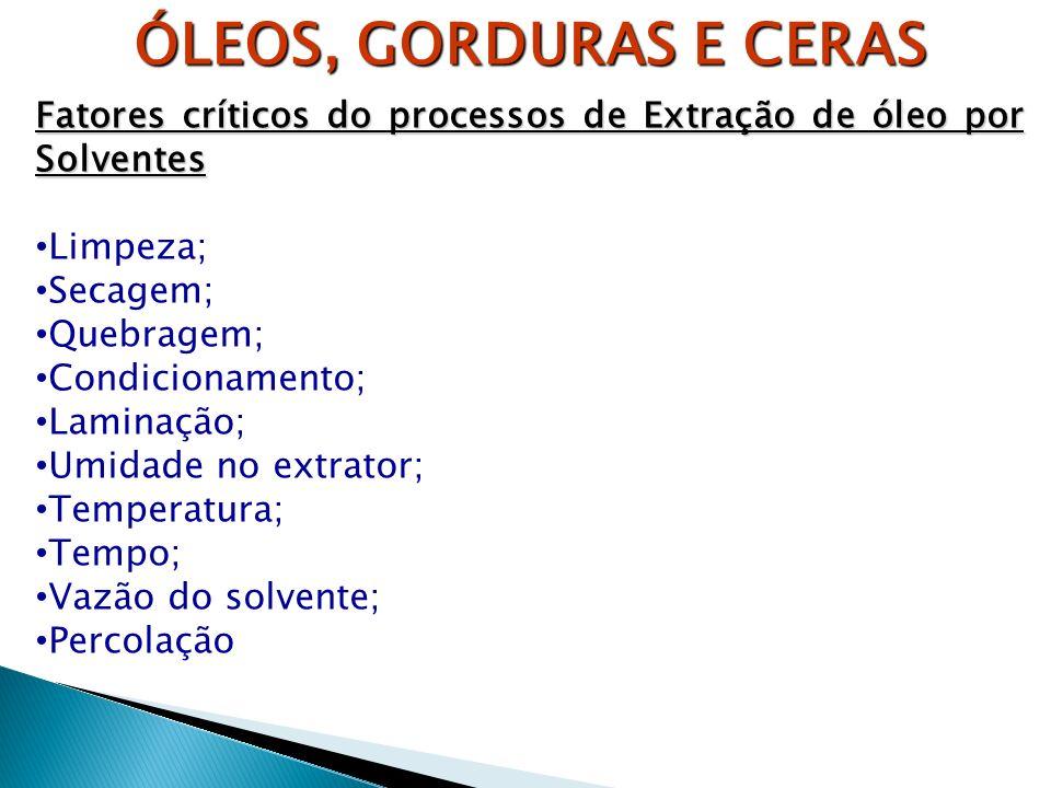 ÓLEOS, GORDURAS E CERAS Fatores críticos do processos de Extração de óleo por Solventes Limpeza; Secagem; Quebragem; Condicionamento; Laminação; Umida