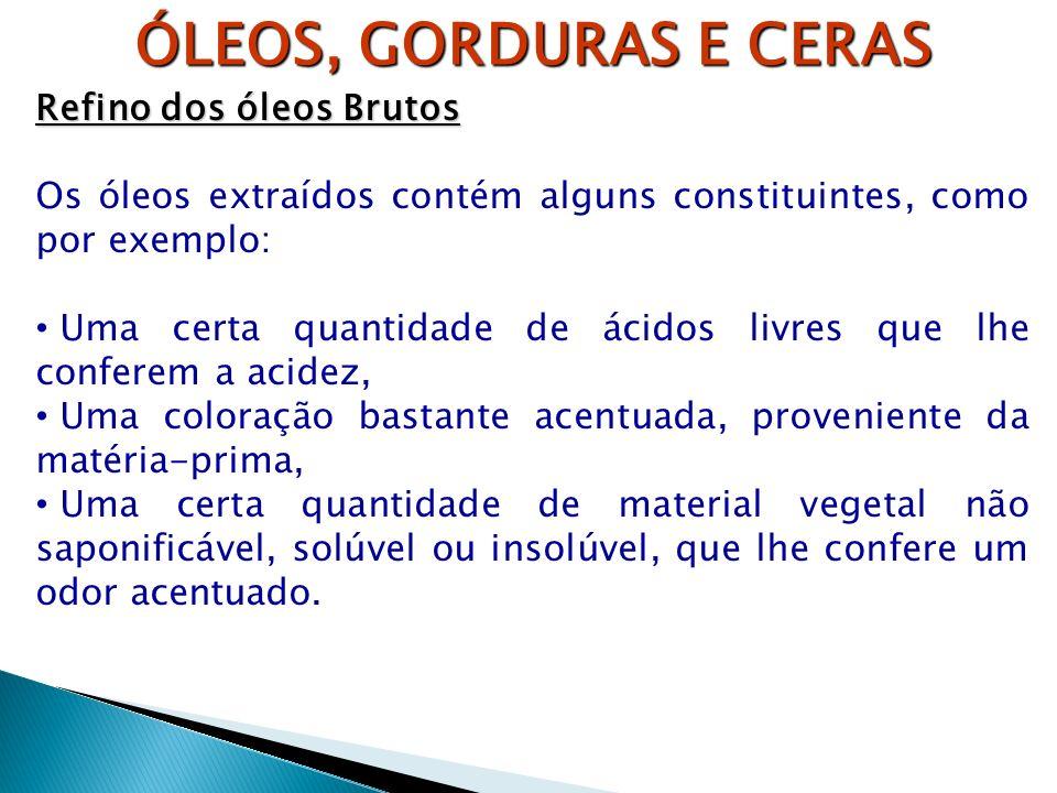 ÓLEOS, GORDURAS E CERAS Refino dos óleos Brutos Os óleos extraídos contém alguns constituintes, como por exemplo: Uma certa quantidade de ácidos livre