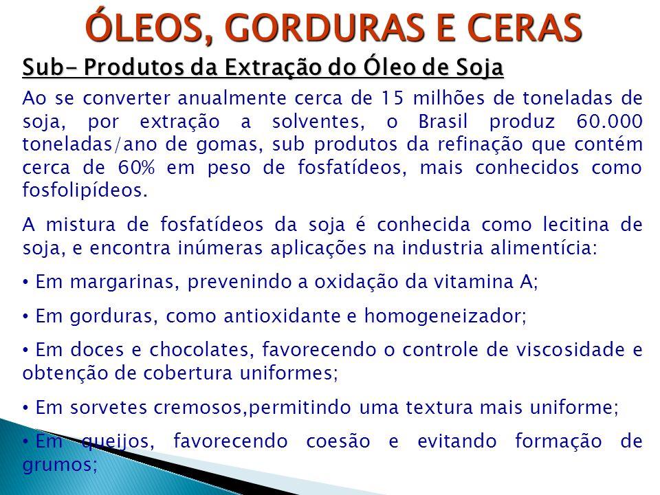 ÓLEOS, GORDURAS E CERAS Sub- Produtos da Extração do Óleo de Soja Ao se converter anualmente cerca de 15 milhões de toneladas de soja, por extração a
