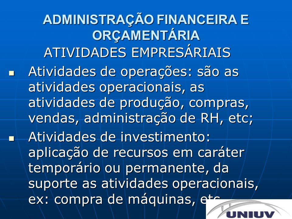 ADMINISTRAÇÃO FINANCEIRA E ORÇAMENTÁRIA ATIVIDADES EMPRESÁRIAIS Atividades de operações: são as atividades operacionais, as atividades de produção, co