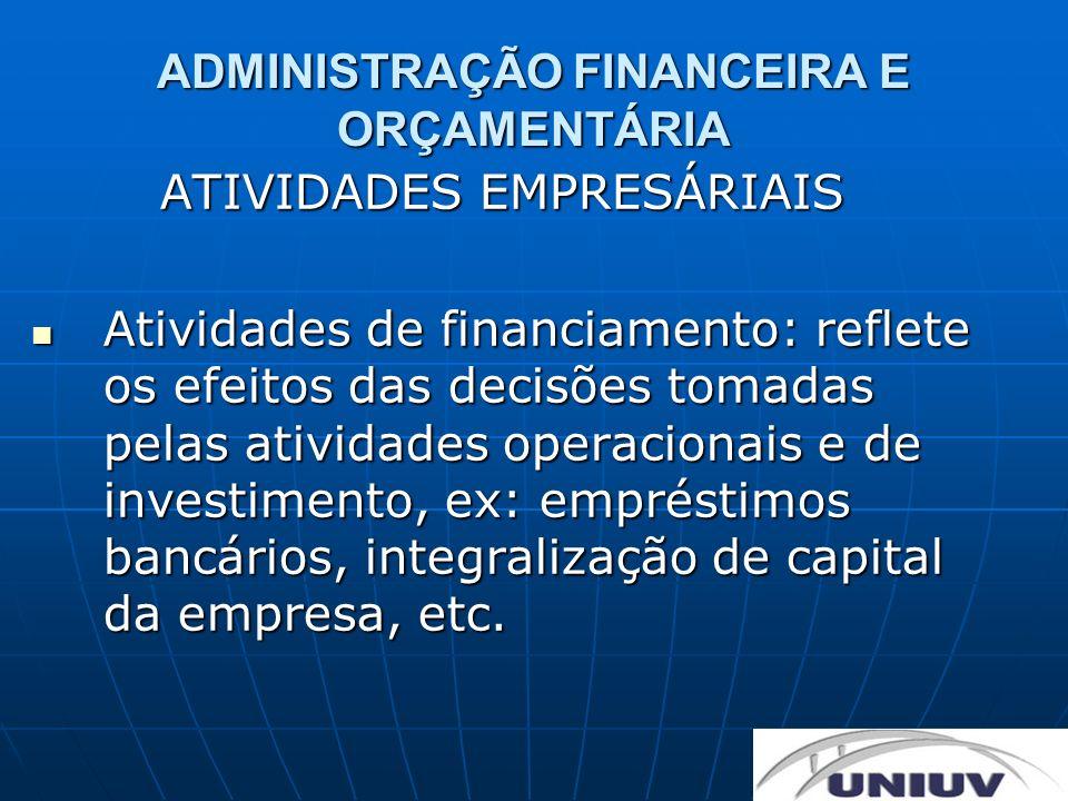 ADMINISTRAÇÃO FINANCEIRA E ORÇAMENTÁRIA ATIVIDADES EMPRESÁRIAIS Atividades de financiamento: reflete os efeitos das decisões tomadas pelas atividades