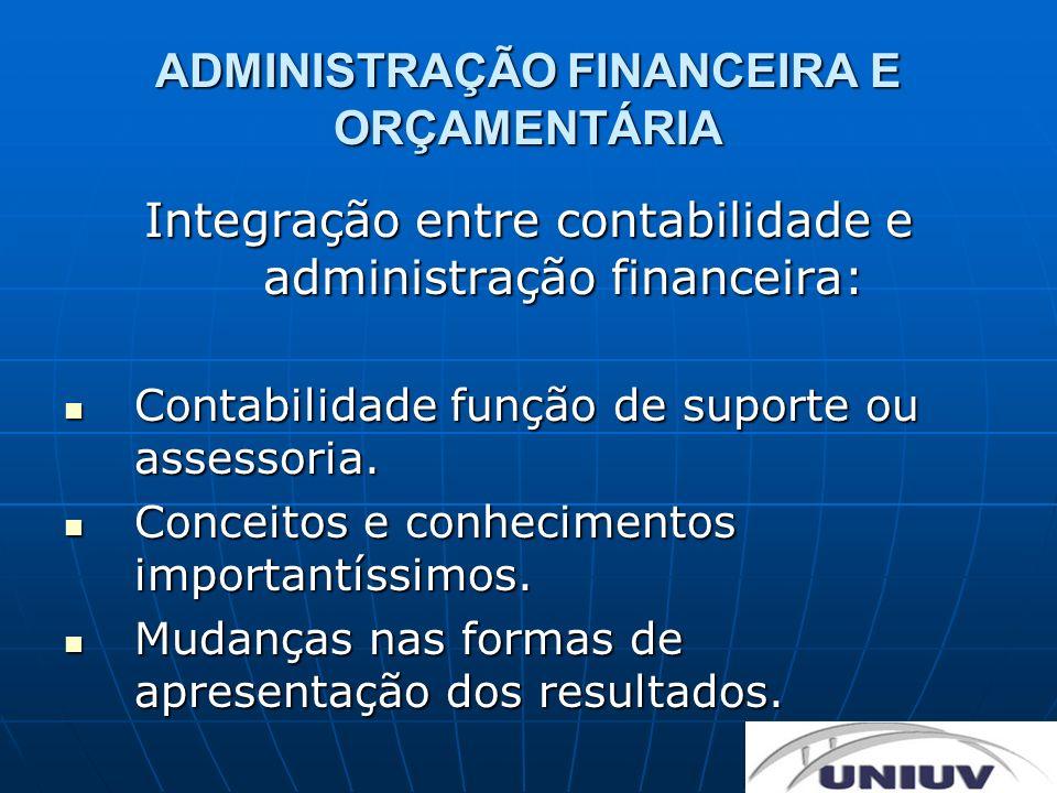 ADMINISTRAÇÃO FINANCEIRA E ORÇAMENTÁRIA Integração entre contabilidade e administração financeira: Contabilidade função de suporte ou assessoria. Cont