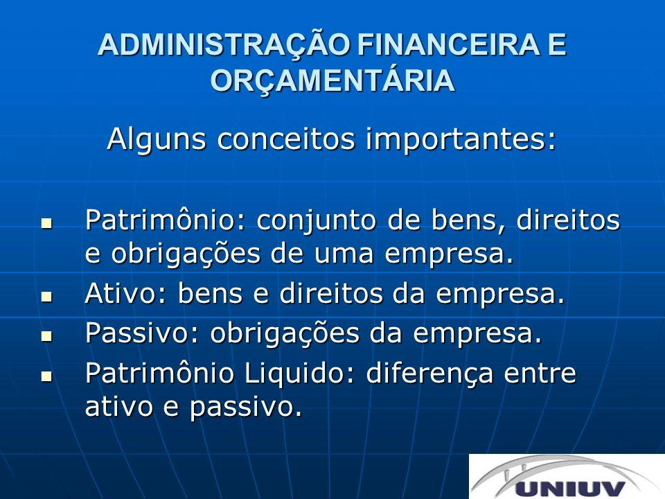 ADMINISTRAÇÃO FINANCEIRA E ORÇAMENTÁRIA Alguns conceitos importantes: Patrimônio: conjunto de bens, direitos e obrigações de uma empresa. Patrimônio: