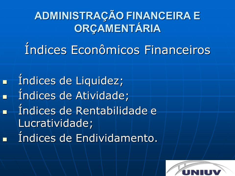 ADMINISTRAÇÃO FINANCEIRA E ORÇAMENTÁRIA Índices Econômicos Financeiros Índices de Liquidez; Índices de Liquidez; Índices de Atividade; Índices de Ativ