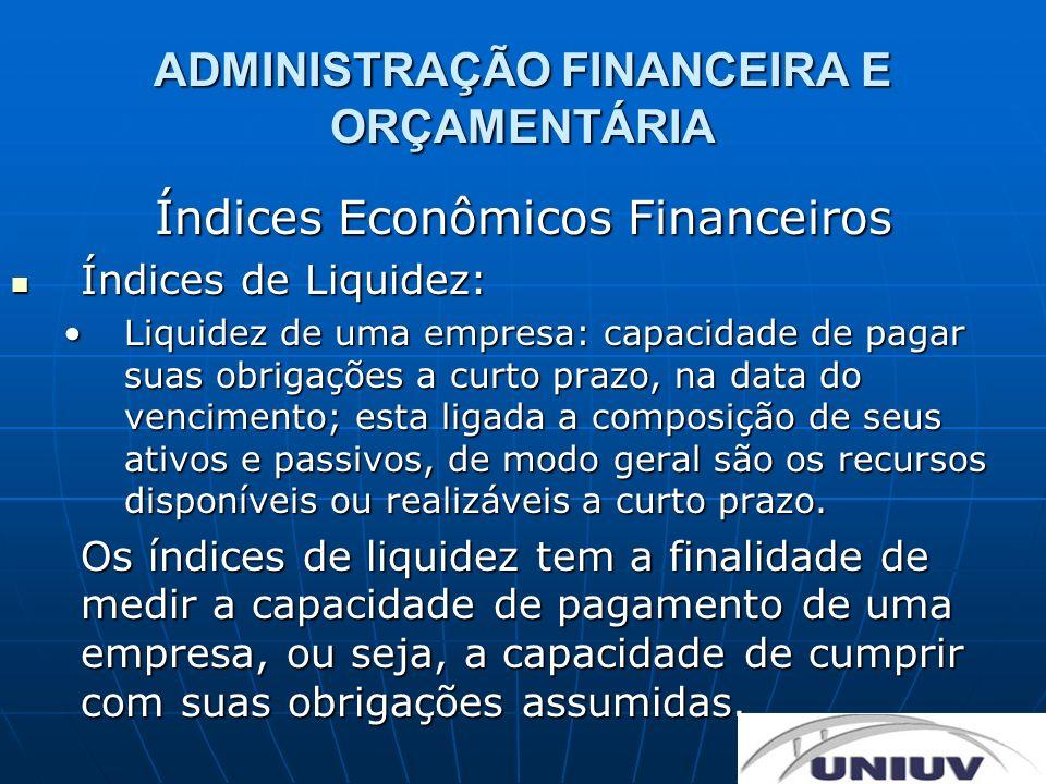 ADMINISTRAÇÃO FINANCEIRA E ORÇAMENTÁRIA Índices Econômicos Financeiros Índices de Liquidez: Índices de Liquidez: Capital circulante liquido:Capital circulante liquido: CCL= Ativo circulante – Passivo circulante.