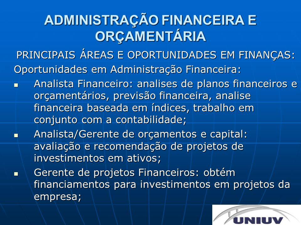 ADMINISTRAÇÃO FINANCEIRA E ORÇAMENTÁRIA PRINCIPAIS ÁREAS E OPORTUNIDADES EM FINANÇAS: Oportunidades em Administração Financeira: Analista Financeiro: