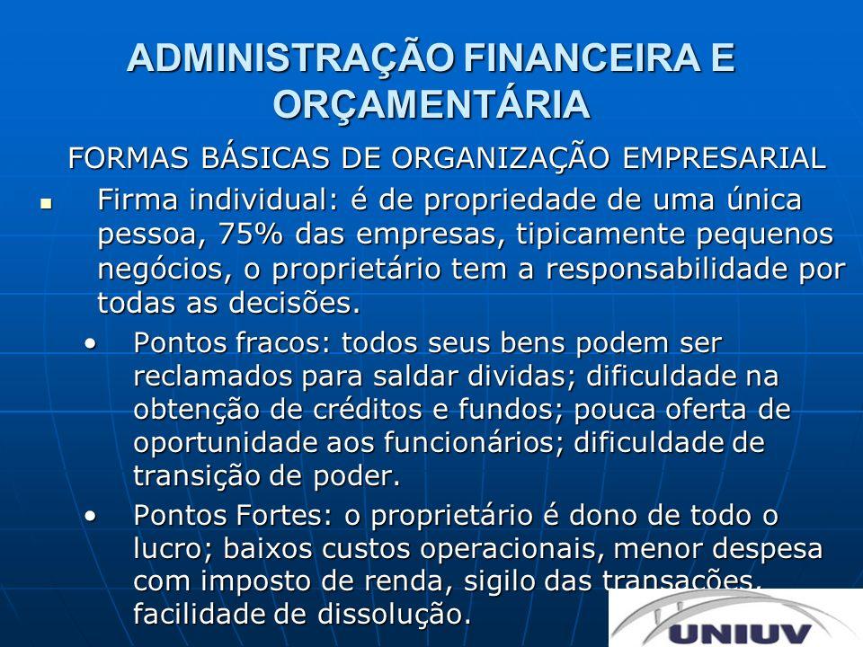 ADMINISTRAÇÃO FINANCEIRA E ORÇAMENTÁRIA FORMAS BÁSICAS DE ORGANIZAÇÃO EMPRESARIAL Sociedade: dois ou mais proprietários dirigindo um mesmo empreendimento, 10% dos negócios, constituída através de contrato social.