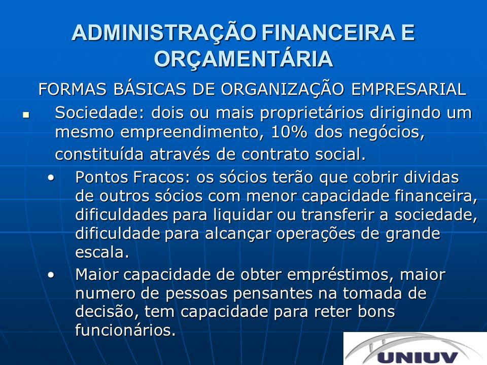 ADMINISTRAÇÃO FINANCEIRA E ORÇAMENTÁRIA FORMAS BÁSICAS DE ORGANIZAÇÃO EMPRESARIAL Sociedade: dois ou mais proprietários dirigindo um mesmo empreendime