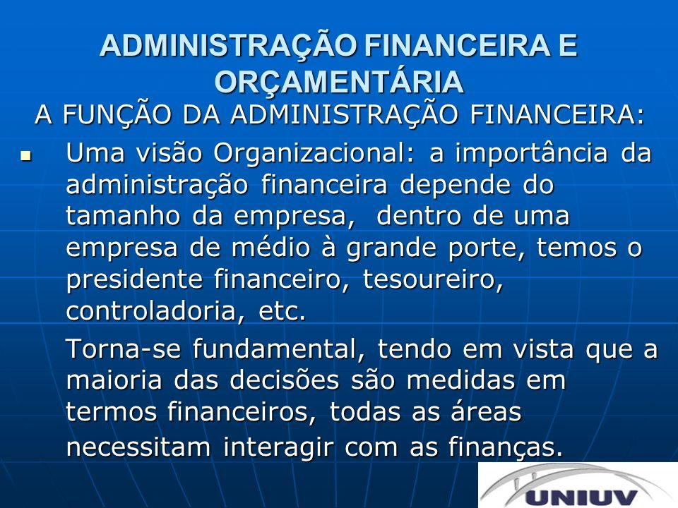 ADMINISTRAÇÃO FINANCEIRA E ORÇAMENTÁRIA A FUNÇÃO DA ADMINISTRAÇÃO FINANCEIRA: Uma visão Organizacional: a importância da administração financeira depe