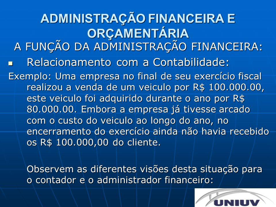 ADMINISTRAÇÃO FINANCEIRA E ORÇAMENTÁRIA A FUNÇÃO DA ADMINISTRAÇÃO FINANCEIRA: Relacionamento com a Contabilidade: Relacionamento com a Contabilidade:
