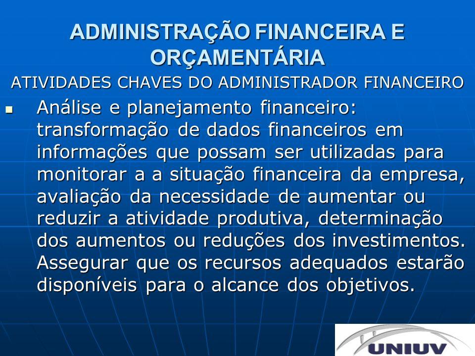 ADMINISTRAÇÃO FINANCEIRA E ORÇAMENTÁRIA ATIVIDADES CHAVES DO ADMINISTRADOR FINANCEIRO Análise e planejamento financeiro: transformação de dados financ