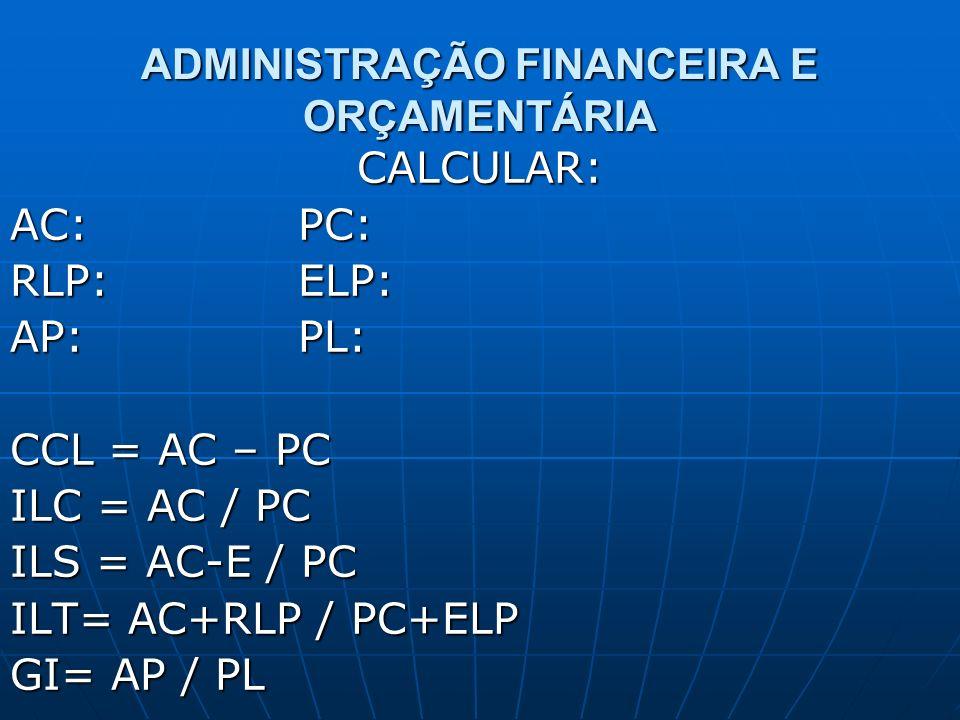 ADMINISTRAÇÃO FINANCEIRA E ORÇAMENTÁRIA CALCULAR: AC: PC: RLP:ELP: AP: PL: CCL = AC – PC ILC = AC / PC ILS = AC-E / PC ILT= AC+RLP / PC+ELP GI= AP / P