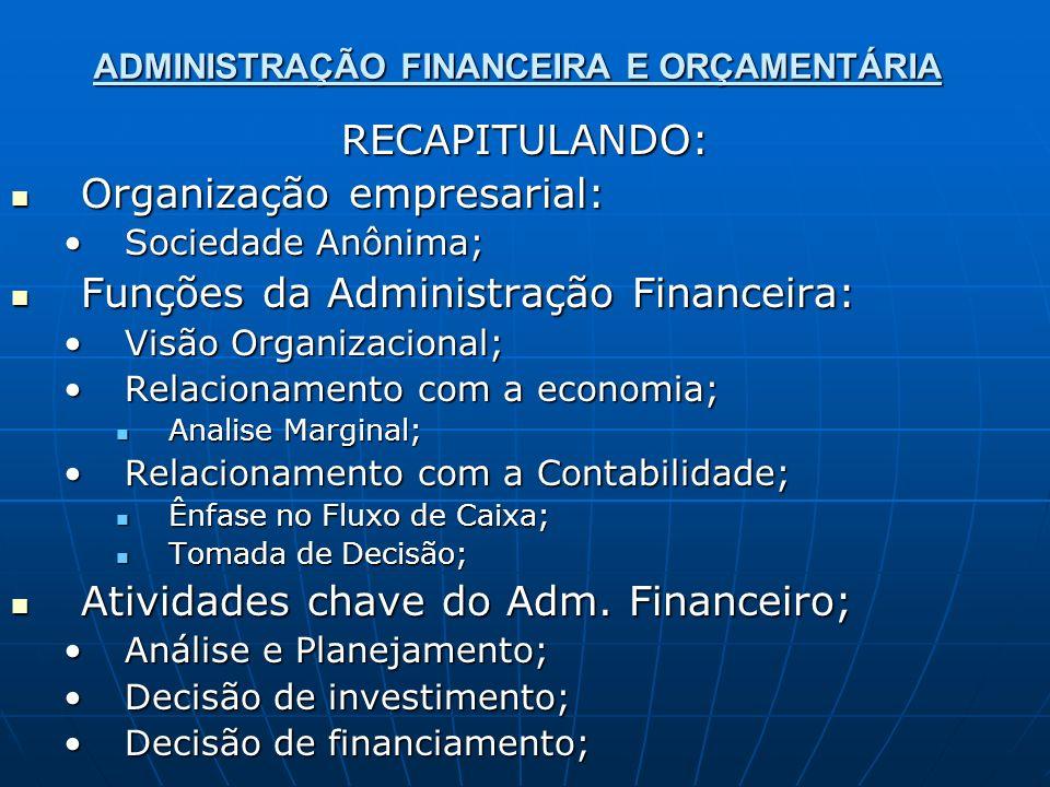 ADMINISTRAÇÃO FINANCEIRA E ORÇAMENTÁRIA RECAPITULANDO: Organização empresarial: Organização empresarial: Sociedade Anônima;Sociedade Anônima; Funções